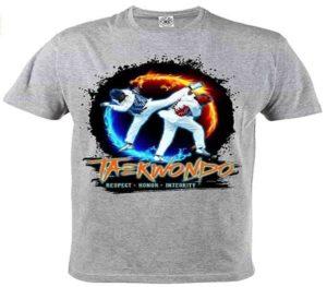 ropa de taekwondo camiseta gris frase respeto honor integridad